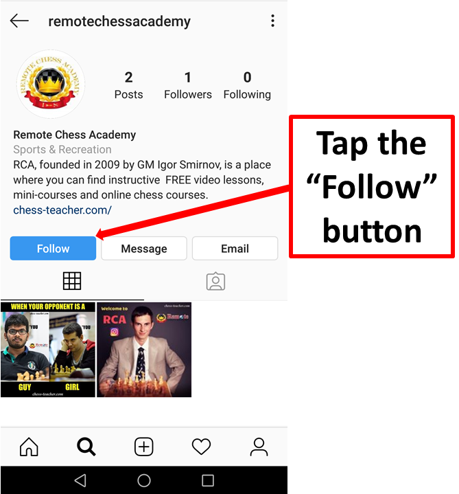 remote chess academy instagram